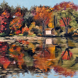 Oil painting of lake house in New Hampshire by American artist Jeffrey Dale Starr