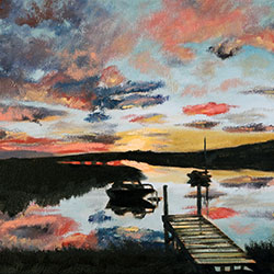Oil painting of sunrise at the pier Cape Cod by American artist Jeffrey Dale Starr