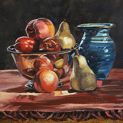 Oil painting of peach pears nectarines by American artist Jeffrey Dale Starr