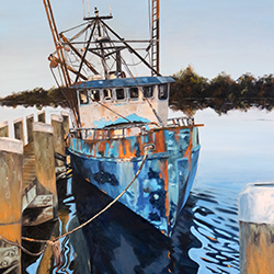Oil painting of rusty old Cape Cod fishing boat salty dog by American artist Jeffrey Dale Starr