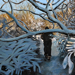 Oil painting of snowy trail on Cape Cod MA by American artist Jeffrey Dale Starr