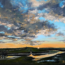 Oil painting of sunrise on the marsh cape cod by American artist Jeffrey Dale Starr