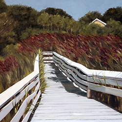 Oil painting of Swan Pond Boardwalk Cape Cod by Jeffrey Dale Starr
